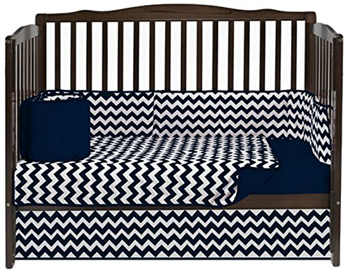 Baby Doll Chevron 4 Piece Crib Bedding Set, Navy front-222340