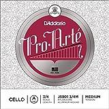 D\'Addario Bowed Corde seule (La) pour violoncelle D\'Addario Pro-Arte, manche 3/4, tension Medium