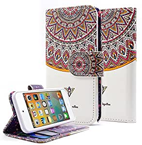 iPod Touch 5 Case, iPod Touch 5th generation Case, NageBee - iPod Touch 5 Design Dual-Use Flip PU Leather Fold Wallet Pouch Case case Premium Leather Wallet Flip Case for Apple iPod Touch 5 5th Generation (Wallet art Royal Totem)