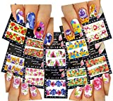 Nail Art Water Slide Tattoo Decals Full Cover Large Flowers, 10 Pack /Cv/