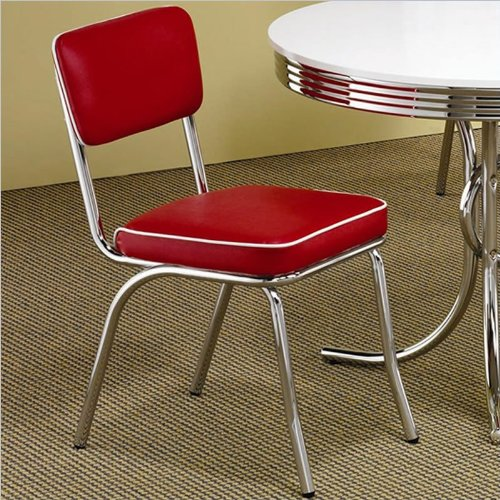 Red and Chrome Dining Chairs