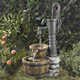 "33"" Old Fashioned Western Style Water Pump Outdoor Patio Garden Water Fountain (Color: silver)"