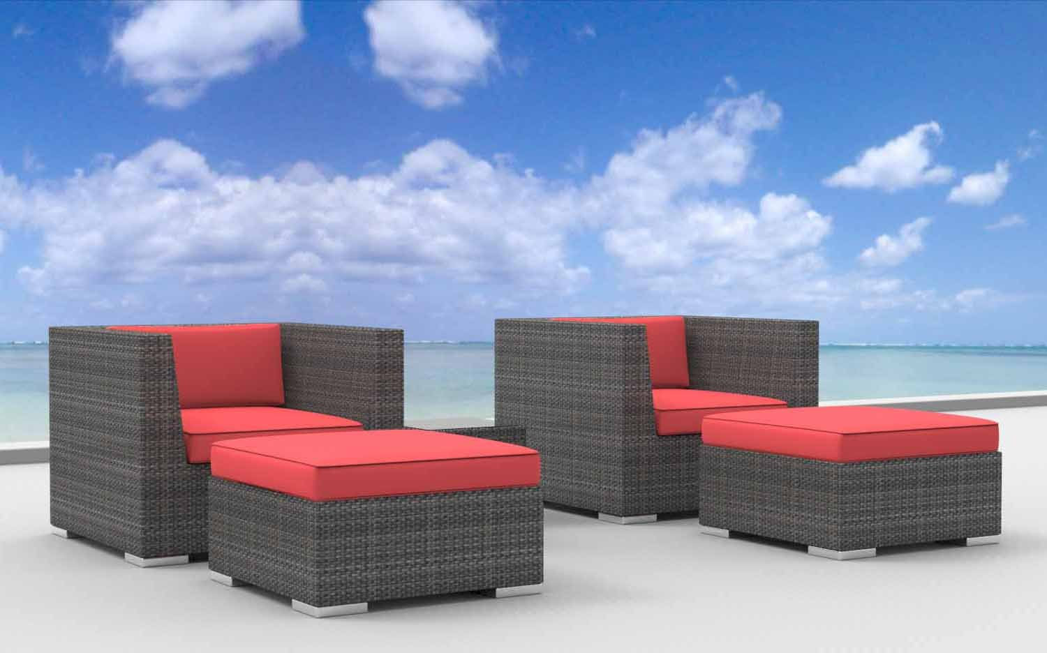 www.urbanfurnishing.net Urban Furnishing - Curacao 5pc Modern Outdoor Backyard Wicker Rattan Patio Furniture Sofa Chair Couch Set - Coral Red at Sears.com