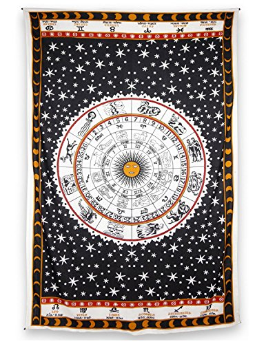 Zest-For-Life-Zodiac-Astrology-Tapestry-Tablecloth-Beach-Sheet-Wall-Art-80x52-Inches-FREE-Sticker-Included