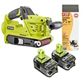 Ryobi 18 Volt Cordless Brushless Belt Sander with (2) High Capacity Lithium-ion Batteries and 120 and 80 Grit Sandpaper (Bundle)