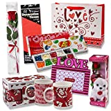 "Valentine Gift Set; Complete with Gift Bag, Tissue Paper, White Rose, ""I Love You"" Mini Bear, 2 Valentine Mugs & Jelly Belly 10 Flavor Gift Box! Assembly Required."