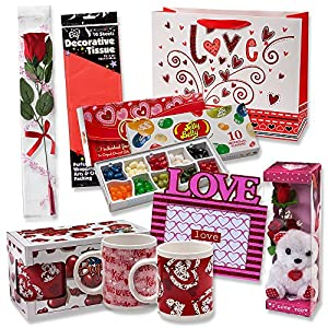 Valentine Gift Set; Complete with Gift Bag, Tissue Paper, White Rose,