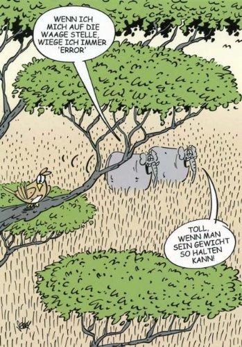 Cartoon Postkarte - Wenn ich mich auf die Waage stelle wiege ich immer ERROR