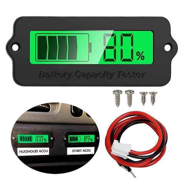 Icstation Voltage Capacity Tester Module 12V 24V 36V 48V Lithium Battery Status Indicator for Car Vehicle Skateboard LCD Digital Power Capacity Monito
