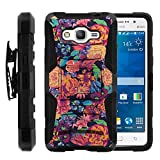 Galaxy Grand Prime Case, Galaxy Grand Prime Holster, Two Layer Hybrid Armor Hard Cover with Built in Kickstand for Samsung Galaxy Grand Prime SM-G530H, SM-G530F (Cricket) from MINITURTLE | Includes Screen Protector - Floral Dream