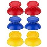 YoRHa3 xPairReplacementOriginalMaterialThumbstickAnalogButtonsCustomColourfulforDualShock4PS4/Slim/PROControllerSparePartsAccessoriesModded(Red+Blue+Yellow) (Color: Red Yellow Blue, Tamaño: Original Material)