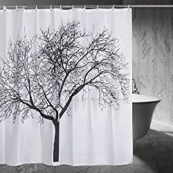 Shower Curtain with Tree Design Forest Fabric Shower Curtain, 72 x 72, Black