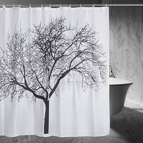 Shower Curtain with Tree Design Forest Fabric Shower Curtain, 72 x 72, Black (Round Shower Curtains compare prices)