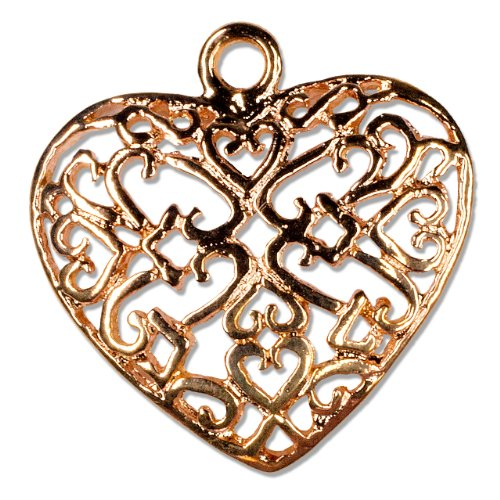 Cousin Jewelry Basics 15 by 18mm Heart Charm, Rose Gold, 1-Piece