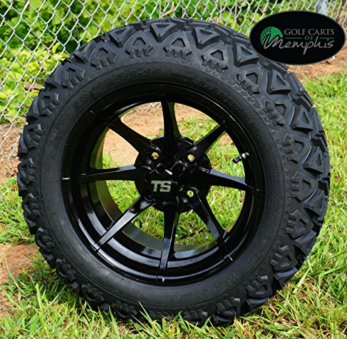 14 Golf Cart Wheels And Tires Combo Set Of 4 Black W All Terrain Tires Lukedsasinds
