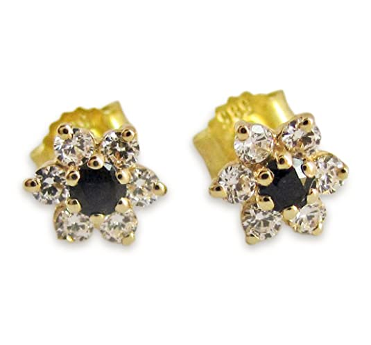 Earrings with Sapphire and Cubic Zirconia Set of 585 gold
