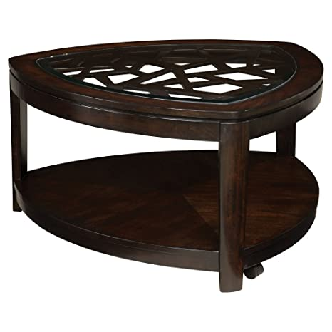 Standard Furniture Crackle Triangle Wood and Glass Top Coffee Table