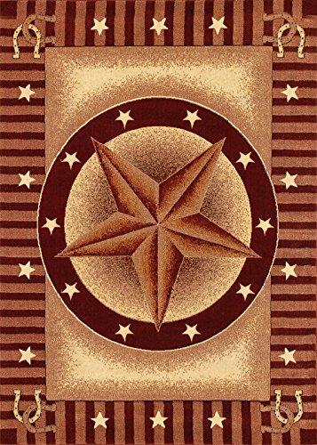 Ivory Brown Lodge Carpet Bordered Medallion Lodge Horseshoe Stars Area Rug (2' * 3')