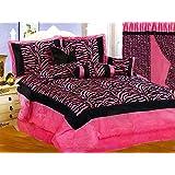 7-Pc Satin Hot Pink Black Flocking Zebra Pattern Comforter Set Queen