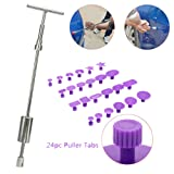 Car Dent Repair Tools VTOLO Dent Lifter Paintless Removal Kit PDR Puller Grip PRO Slide Hammer T-Bar Tool + 24pcs Glue Puller Tabs for Vehicle SUV Car Auto Body Hail Damage Remover