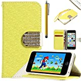iPhone 5C Wallet Case, ULAK Fashion Maze Lines Pattern Diamond Clip Wristlet Wallet Stand Case for Apple iPhone 5C with Credit Card Holder Screen Protector and Stylus (Yellow)