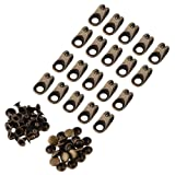 20Pcs Shoe Lace Hooks Boot Lace Hooks Fittings with Rivets for Camp Hike Climbing Repair Shoes Buckles Hooks Accessories(Grey) (Color: Grey)