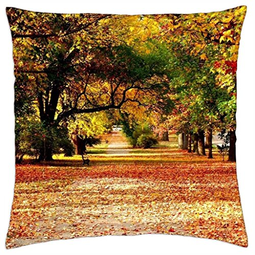 fallen leaves in park - Throw Pillow Cover Case (18