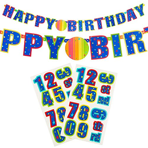 "Amscan A Year To Celebrate Happy Birthday Celebration Customizable Illustrated Letter Party Banner, 7.5"" x 7"", Multicolor"
