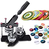 Seeutek Button Maker Machine 2-1/4 inch 58mm Badge Maker with 1100 Pcs Button Parts and 2-1/4 inch 58mm Circle Cutter (Color: black, Tamaño: Upgrade Black 58mm)
