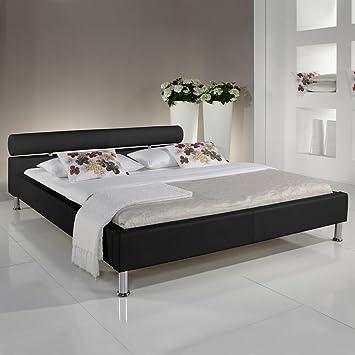 Polsterbett 180x200 schwarz Kunst-Lederbett Bett Doppelbett Andre