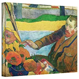 Art Wall \'Van Gogh Painting Sunflowers\' Gallery-Wrapped Canvas Artwork by Paul Gauguin, 18 by 24-Inch
