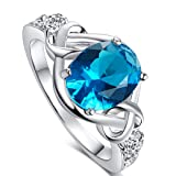 Veunora 925 Sterling Silver 8x10mm Oval Cut Blue and White Topaz Filled Ring Jewelry for Women