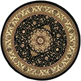 Safavieh Lyndhurst Collection LNH329A Black and Ivory Round Area Rug, 4 feet in Diameter (4' Diameter)
