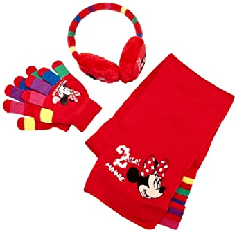 Disney Minnie Mouse Girls Scarf, Gloves and Earmuff Set Red One Size