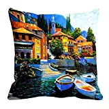 MeSleep City Of Water Digitally Printed 16x16 Inch Cushion Cover