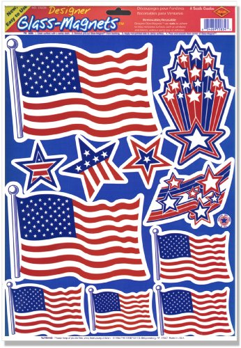Patriotic Clings (stars & stripes designs) Party Accessory  (1 count) (11/Sh) - 1