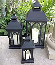 Set of 3 Indoor or Outdoor Lanterns with Candles (Black)
