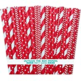 Outside the Box Papers Red Stripe, Chevron and Polka Dot Paper Straw Combo-7.75 Inches-75 Pack, Red, White