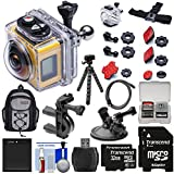 Kodak PixPro SP360 Wi-Fi HD Video Action Camera Camcorder - Aqua Sport Pack + Bike & Suction Cup Mounts + 64GBs + Battery + Backpack + Tripod Kit