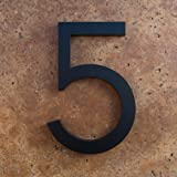 Modern House Number Black Color Aluminum Modern Font Number Five