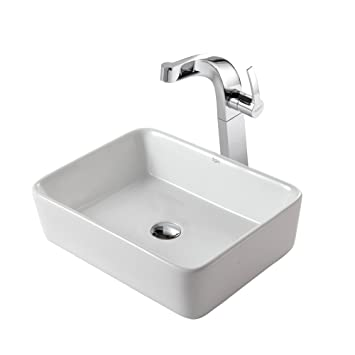 Kraus C-KCV-121-15100CH White Rectangular Ceramic Sink and Typhon Faucet Chrome