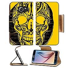 buy Msd Samsung Galaxy S6 Flip Pu Leather Wallet Case Tattoo Tribal Skull Vector Art Image 23392157