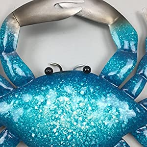 Blue and Silver Metal CRAB WALL ART 22cm wide by Make It Fabulous