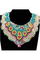 Fashion Retro Boho Black lint Tailor Colorized Resin Beads Cluster Bohemian Bib Necklace (Fast ePacket)