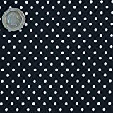 Navy Blue 3mm Polka Dot Fabric HALF METRE 100 % Cotton Spotty.