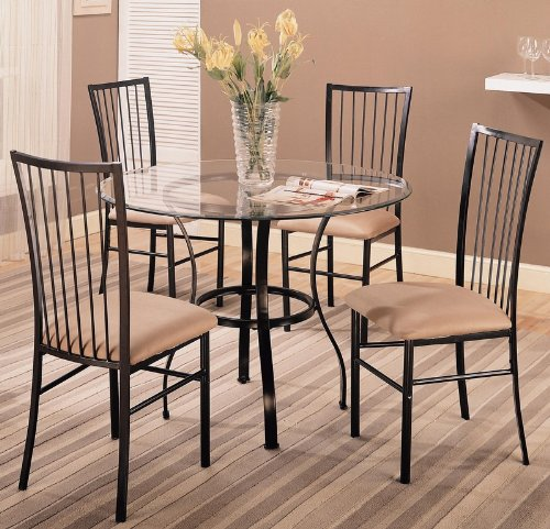Cheap 5pc Dining Table and Chairs Set Glass Top Sleek Metal Finish (VF_120566)