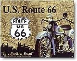 ルート66を走るインディアンバイク★アメリカのマザーロード★ROUTE66★アメリカンブリキ看板[678] / DE.sign