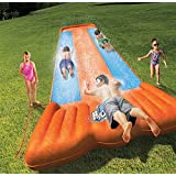 Bestway 52200E 3-Person Capacity Outdoor Kids Tough Inflatable Launch Pad H2O Go Triple Slider w Landing Pad & Lagoon Funnel