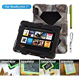 """ACEGUARDER Shockproof Case for Kindle Fire HDX 7"""" Rainproof Waterproof Shockproof Kids Proof Case for Kindle Fire HDX 7""""(only Fit Kindle Fire HDX 7 2013) (Gifts Outdoor Carabiner + Whistle + Handwritten Touch Pen) (CAMO/BLACK)"""
