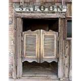 5x7ft Silk Backdrop Background Barn Door Photography Background Western Saloon Doors backdrop Z-34 (Color: White)